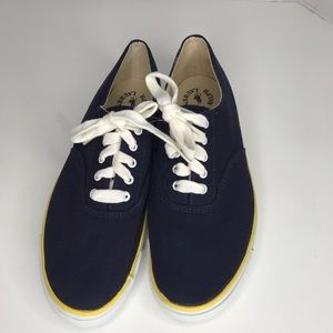 Polo Ralph Lauren sneaker navy blue yellow stripe.